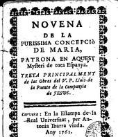 Novena de la Purissima Concepció de Maria, patrona en aquest mysteri de total Espanya...
