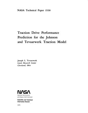 Traction Drive Performance Prediction for the Johnson and Tevaarwerk Traction Model PDF