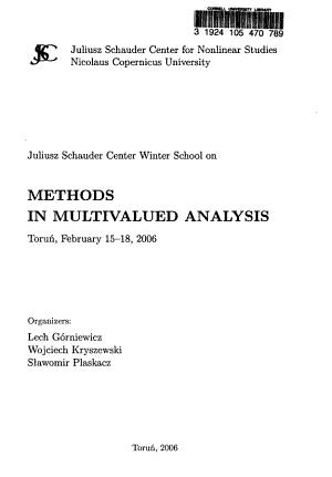 Juliusz Schauder Center Winter School on Methods in Multivalued Analysis PDF