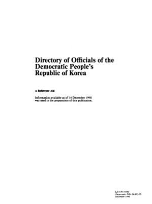 Directory of Officials of the Democratic People s Republic of Korea PDF