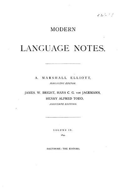 Download Modern Language Notes Book