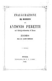 Inaugurazione del monumento ad Antonio Peretti nel collegio convitto d'Ivrea discorso di Jacopo Bernardi