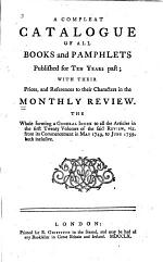 A Compleat Catalogue of All Books and Pamphlets Published for Ten Years Past