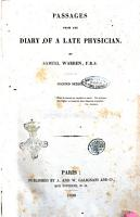 Passages from the diary of a late physician by Samuel Warren  F R S PDF