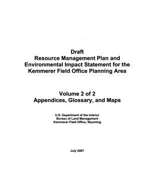 Kemmerer Field Office Planning Area, Resource Management Plan