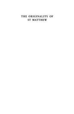 The Originality of St Matthew