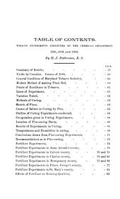 Tobacco Experiments: Conducted by the Chemical Department, 1891, 1892 and 1893
