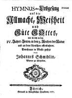 Hymmes oder Lobgesang auf die Allmacht  Weissheit und Gute Gottes    PDF
