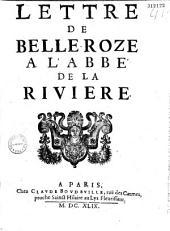 Lettre de Belleroze à l'abbé de La Rivière