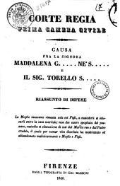 Causa fra la signora Maddalena G. ... ne' S. ... e il sig. Torello S. ... riassunto di difese [Vincenzo Salvagnoli, Francesco Uccelli]