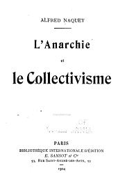 L'anarchie et le collectivisme