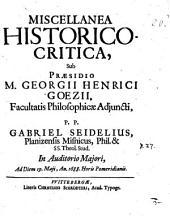 Miscellanea historico-critica