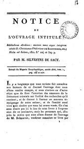 Notice de l'ouvrage intitulé: Bibliotheca Arabica: auctam ... edidit d. Christianus Fridericus de Schnurrer