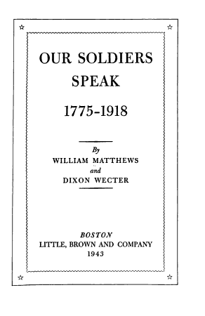 Our Soldiers Speak  1775 1918 PDF