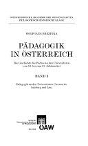 P  dagogik in   sterreich  Padagogik an den Universit  ten Czernowitz  Salzburg und Linz