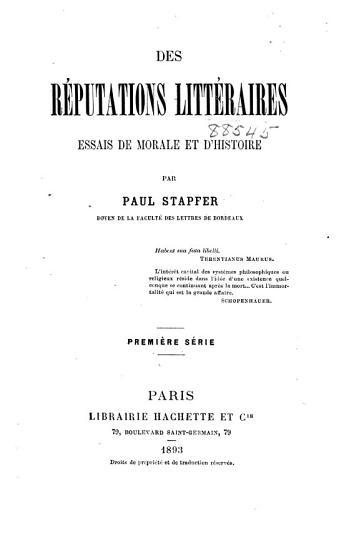 Des r  eputations litt  raires  series 1 PDF