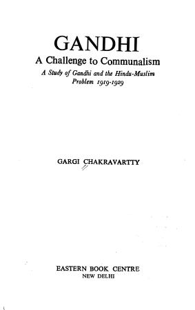 Gandhi  a Challenge to Communalism PDF