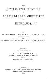 The Rothamsted Memoirs on Agricultural Science: Volume 1