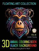 3D Animal Coloring Book Black Background Floating Art Collection