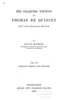 The Collected Writings of Thomas De Quincey  Literary theory and criticism PDF
