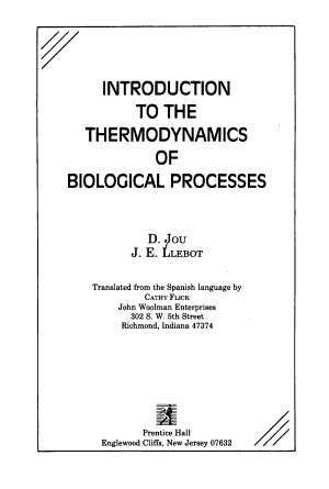 Introduction to the Thermodynamics of Biological Processes