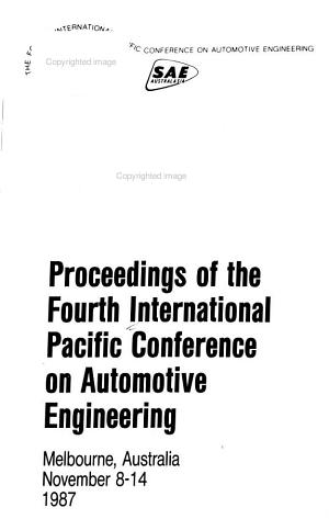 Proceedings of the Fourth International Pacific Conference on Automotive Engineering  Monday and Tuesday PDF