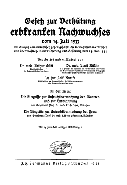 Gesetz zur Verh  tung erbkranken Nachwuchses vom 14  Juli 1933 PDF