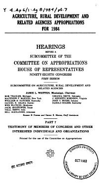 Agriculture  rural development  and related agencies appropriations for 1984 PDF