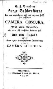 Beschreibung der neu abgeänderten Camera obscura