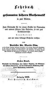 Lehrbuch der gesammten höhern Mathematik in zwei Bänden: Band 1