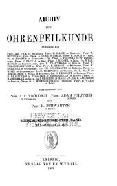 Archiv für ohrenheilkunde: Bände 37-38