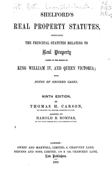 Download Shelford s Real Property Statutes Book