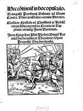 Hec continent. in hoc opusculo. Tranquilli Parth. Dalmate ad Deum contra Thurcas oratio carmine heroico0
