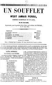 """""""Un"""" soufflet n'est jamais perdu: comédie-vaudeville en un acte, Volume86;Volume89"""