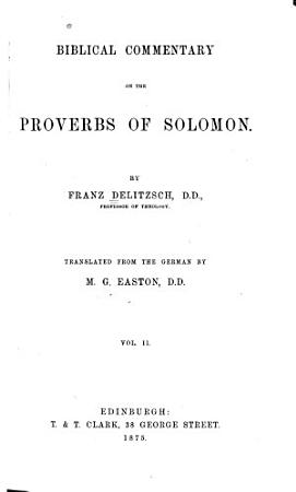 Biblical Commentary on the Proverbs of Solomon PDF