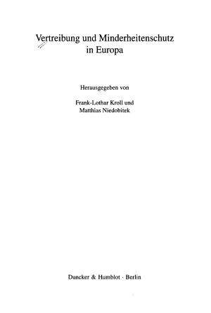 Vertreibung und Minderheitenschutz in Europa PDF