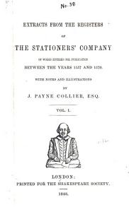 Extracts from the Registers of the Stationers  Company PDF