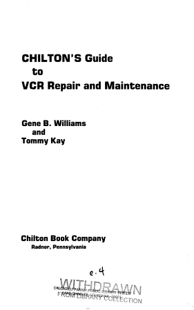 Chilton s Guide to VCR Repair and Maintenance PDF