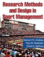 Research Methods and Design in Sport Management PDF