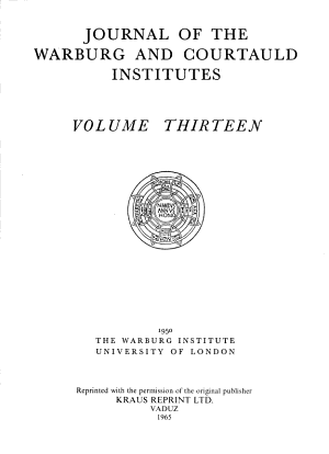 Journal of the Warburg and Courtauld Institutes PDF