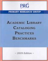 Academic Library Cataloging Practices Benchmarks PDF