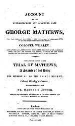 Account of the Extraordinary and Shocking Case of George Mathews