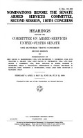 Nominations Before the Senate Armed Services Committee  Second Session  110th Congress PDF