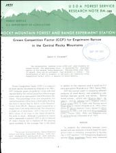 Crown competition factor (CCF) for Engelmann spruce in the central Rocky Mountains