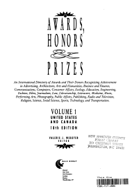 Awards  Honors and Prizes PDF