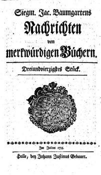 Siegm  Jac  Baumgartens Nachrichten von merkw  rdigen B  chern PDF