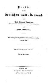 Bericht über den deutschen Zoll-Verband an Lord Viscount Palmerston