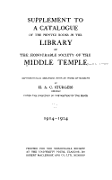 A Catalogue of the Printed Books in the Library of the Honourable Society of the Middle Temple PDF