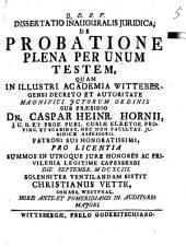 De probatione plena per unum testem