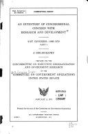 An Inventory of Congressional Concern with Research and Development  a Bibliography PDF